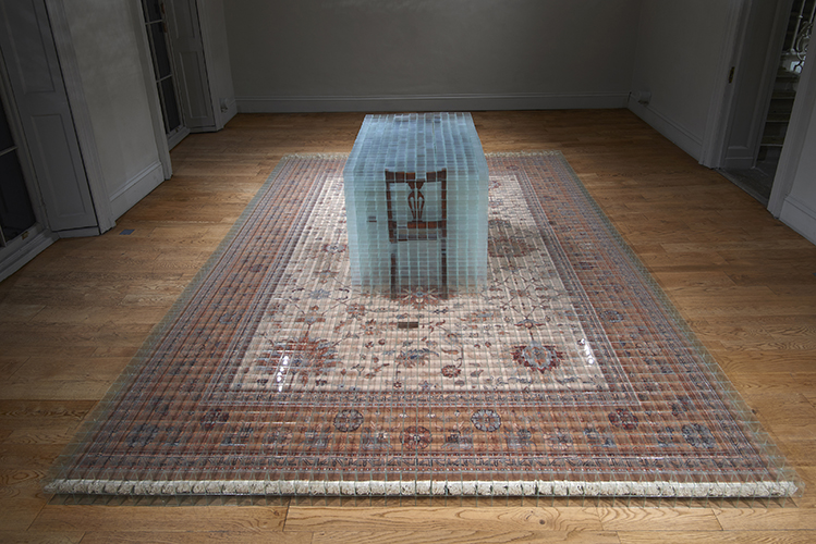 image: David Cheeseman 'Once ever After: Thrice Removed' 383×290×81(h)cm, 2014, glass, tape, carpet and furniture (7,752 glass boxes, each 58mm cubed) installation photography by Andy Keate