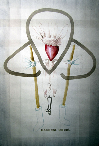 "John Strutton 'Habitual Ritual' (from Decorations for a Lost Cause) ink and watercolour on paper, 56 x 38cm (22"" x 15""), 2009"