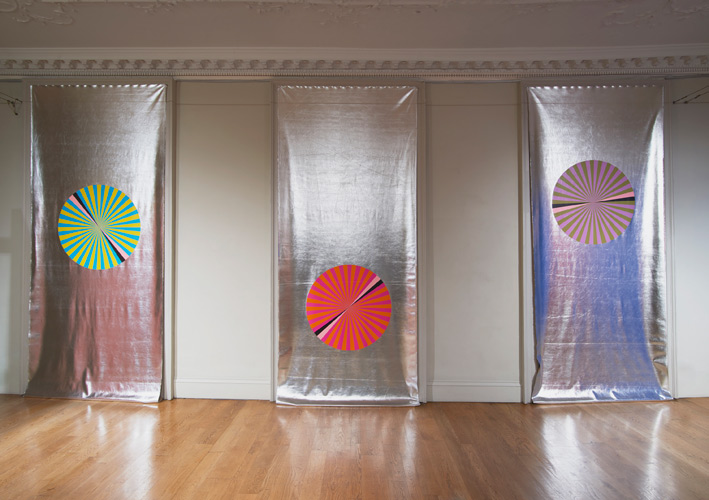 Lothar Götz 'Pas de Trois I,II,III' 3 unique silkscreen prints on pvc, each 380×147cm, 2016, installation photo by Andy Keate