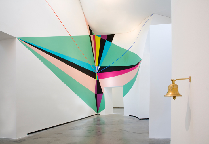 Lothar Götz 'Vision of a Corner' acrylic and emulsion on wall, Marta Herford, Germany, 2013, photo by Hans Schroeder