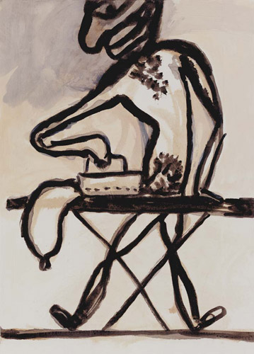 "Ansel Krut 'Man Ironing his Cock' ink on paper (38×29 cm/15""×11.4"") 2004."
